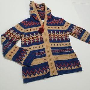 Anthro hoodie sweater Fair Isle knit L